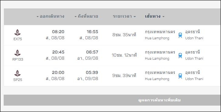 ตารางเดินรถไฟ กรุงเทพ-อุดรธานี
